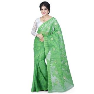 Dhakai Jamdani Handloom Saree in Green