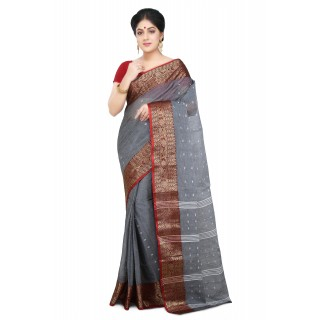 Cotton Tant Handloom Saree in Grey