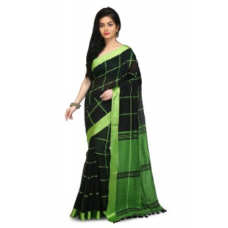 Handloom Cotton Silk Saree in Black With Green velvet border