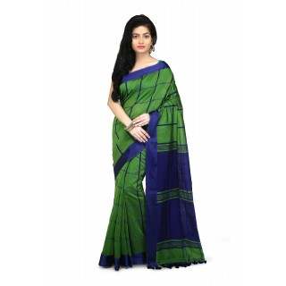 Handloom Cotton Silk Saree in Green With blue velvet border