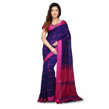 Handloom Cotton Silk Saree in Blue With pink velvet border