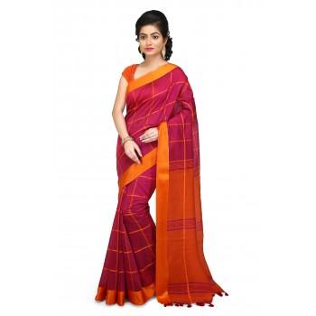 Handloom Cotton Silk Saree in Pink With Orange velvet border