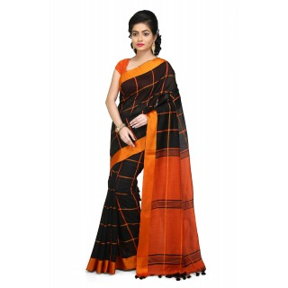 Handloom Cotton Silk Saree in Black With orange velvet border