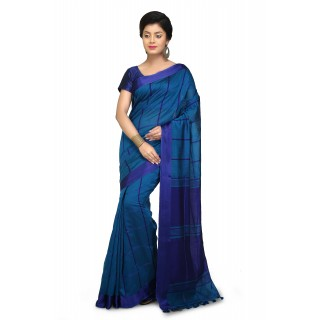 Handloom Cotton Silk Saree in Aqua blue With Royal blue velvet border