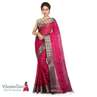 Cotton Tant Handloom Saree in Pink & Purple