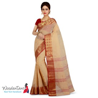 Cotton Tant Handloom Saree in Beige