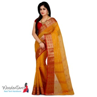 Cotton Tant Handloom Saree in Yellow & Red