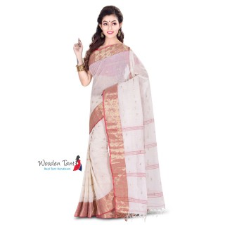 Cotton Tant Handloom Saree in White