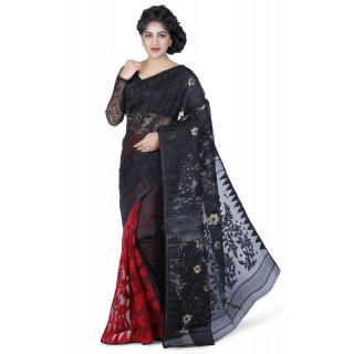 Dhakai Jamdani Handloom Saree in Black N Red