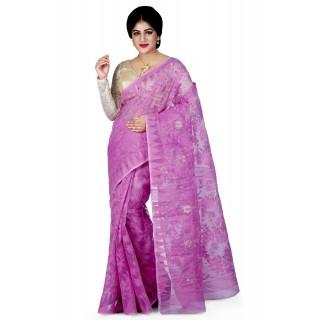 Dhakai Jamdani Handloom Saree in Kashmiri Pink