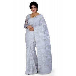 Dhakai Jamdani Handloom Saree in White