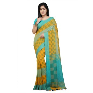 Handloom Soft Cotton Saree in Yellow & Aqua Blue
