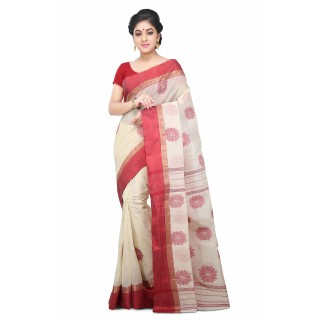 Handloom Cotton tant saree in White