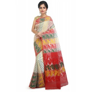 WoodenTant Women's Cotton Silk Dhakai Jamdani Handloom Saree In Off White With Multicolor Thread Work