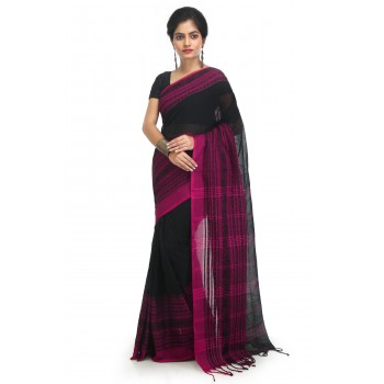 WoodenTant Women's Pure Cotton Begampuri Saree In Black