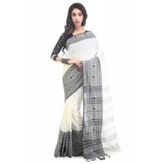 WoodenTant Women's Pure Cotton Begampuri Saree In White