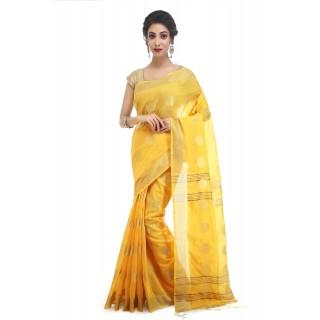 WoodenTant Women's Cotton Silk Thread Ball Handloom Saree In Yellow With Zari Border