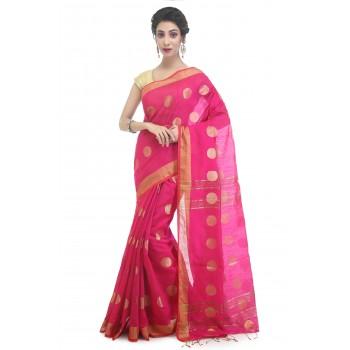 WoodenTant Women's Cotton Silk Thread Ball Handloom Saree In Pink With Zari Border