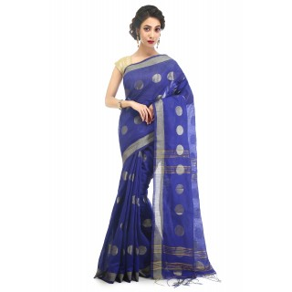 WoodenTant Women's Cotton Silk Thread Ball Handloom Saree In Blue With Zari Border
