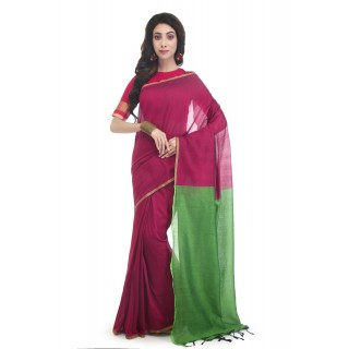 WoodenTant Handloom Pure Cotton Saree with Blouse Piece in Mergenta Green Color