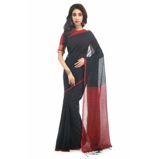 WoodenTant Handloom Pure Cotton Saree with Blouse Piece in Black Red Color