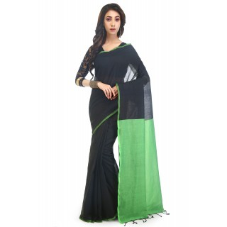 WoodenTant Handloom Pure Cotton Saree with Blouse Piece in Black Green Color