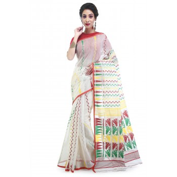 WoodenTant Women's Cotton Silk Soft Dhakai Jamdani Handloom Saree In White And Multicolor Thread Work With Temple Border