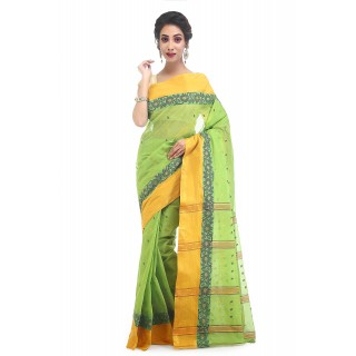 WoodenTant Women's Pure Cotton Tant Saree In Light Green with Buti Work
