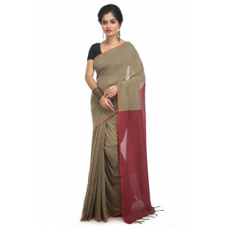 WoodenTant Handloom Pure Cotton Saree with Blouse Piece in Beige Red Color