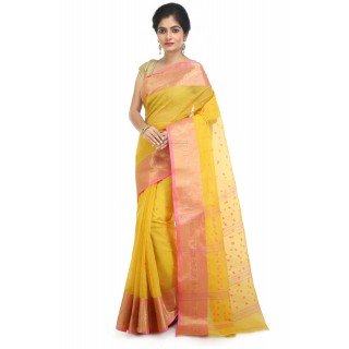 WoodenTant Women's Pure Cotton Tant Saree In Yellow with Buti Work & Zari border