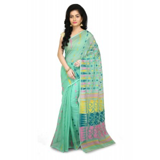 Dhakai Jamdani Handloom Saree in Mint Green