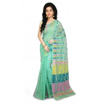 Dhakai Jamdani Handloom Saree in Mint Green