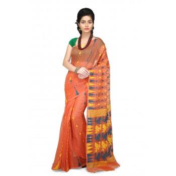 Dhakai Jamdani Handloom Saree in orange