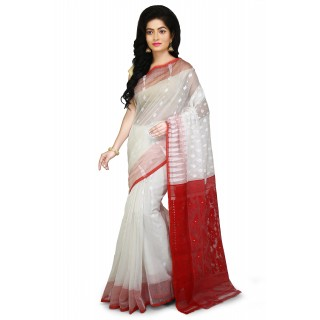 Dhakai Jamdani Handloom Saree white and red