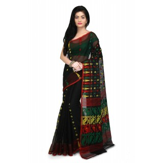 Dhakai Jamdani Handloom Saree in black