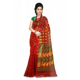 Dhakai Jamdani Handloom Saree in Red