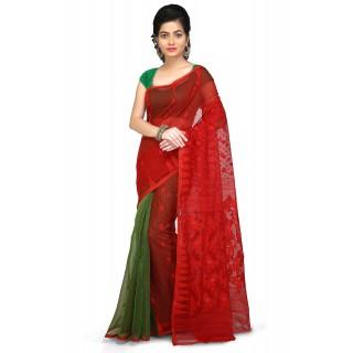 Dhakai Jamdani Handloom Saree in Red