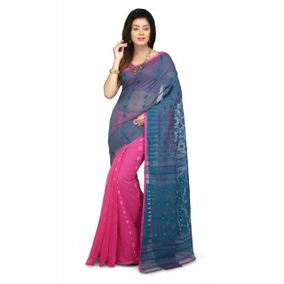 Dhakai Jamdani Handloom Saree Blue and pink