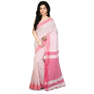 Handloom soft cotton  Saree In White and Pink