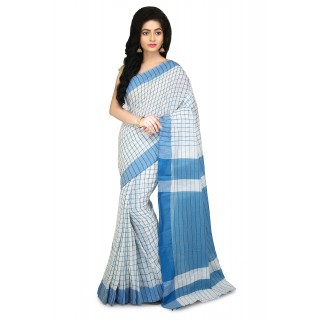 Handloom Soft Cotton Saree In White and Blue