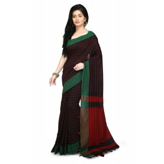 handloom soft cotton Saree In Black and Red