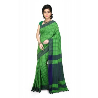 Handloom Soft Cotton Saree In green  and Blue