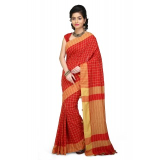 Handloom Soft Cotton Saree Red and Yellow