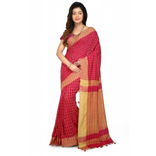 Handloom Soft Cotton Saree In pink and yellow
