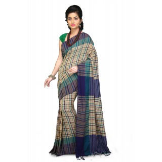 Handloom Soft Cotton Khadi Saree In Multicolor