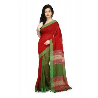 handloom cotton khadi saree in half half Red and Green