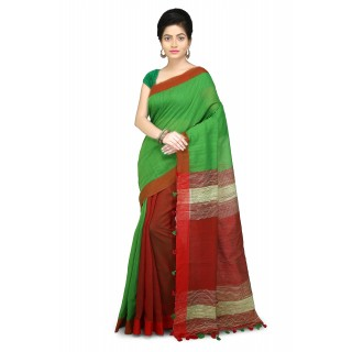 Green and Red Half Half Soft Cotton Saree