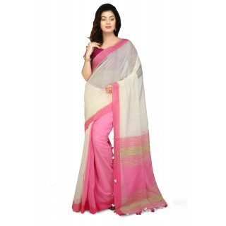 WoodenTant White and Pink Half Half Soft Cotton Saree