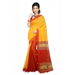 WoodenTant Yellow and Red Half Half Soft Cotton Saree