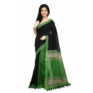 WoodenTant Black and Green Half Half Soft Cotton Saree